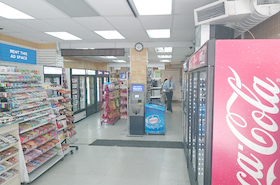 [Image: Indoor ad space in a convenience store]