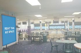 [Image: Indoor ad space in a bowling center]