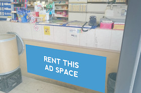 [Image: Indoor ad space at a Convenience store]