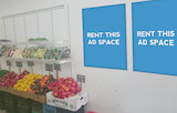 [Image: Indoor ad space in a grocery shop]