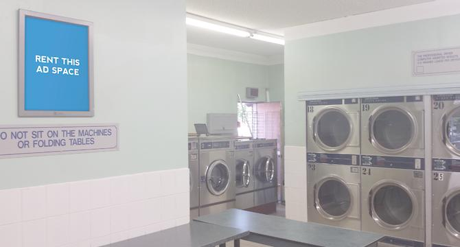 [Image: Indoor ad space in coin laundry and convenience store]