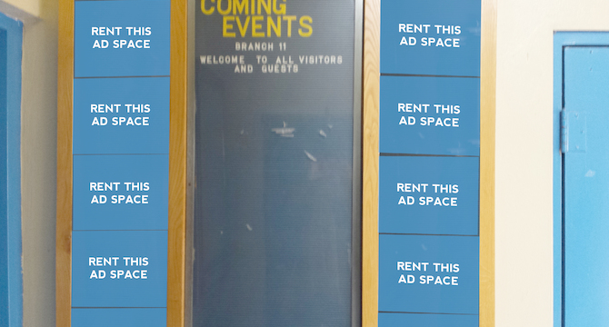 [Image: Indoor Ad Space at a Community Centre]