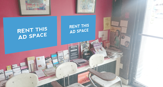 [Image: Indoor Ad Space at a Coffee Shop]
